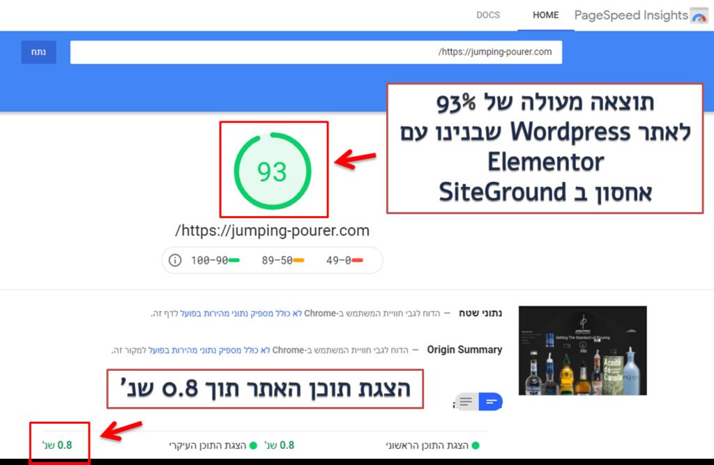 בדיקת מהירות של גוגל אתר על אחסון של siteground