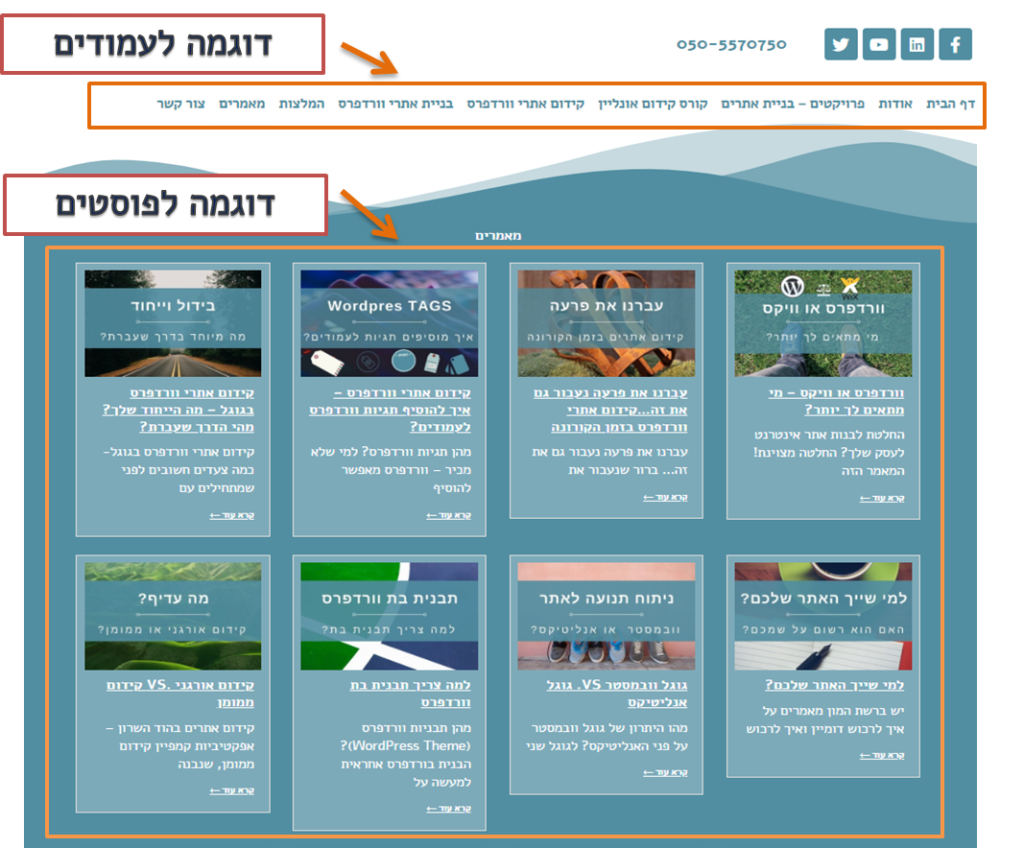 בניית אתרי וורדפרס לעסקים - עמודים ופוסטים