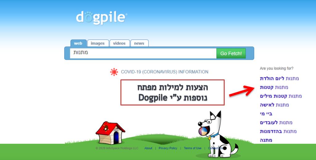 חיפוש של מילות מפתח - Dogpile