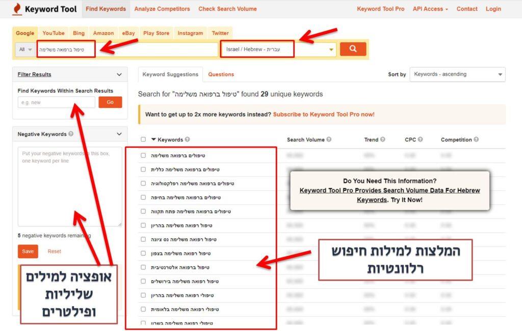חקר מילות חיפוש עם keyword tool